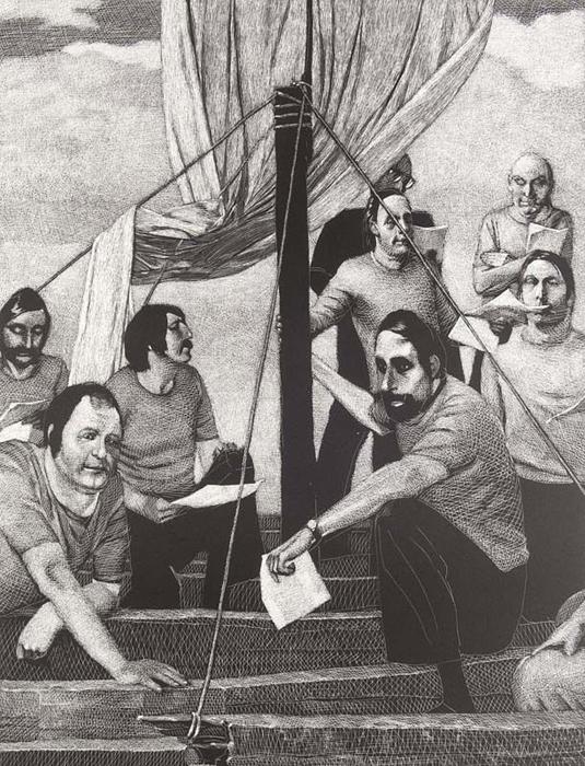 Auf dem Fluß der Medusa Lithografie Johannes Grützke Holzschnitt Radierung Schabradierung Offsetdruckt Druckgrafik Kaltnadelradierung