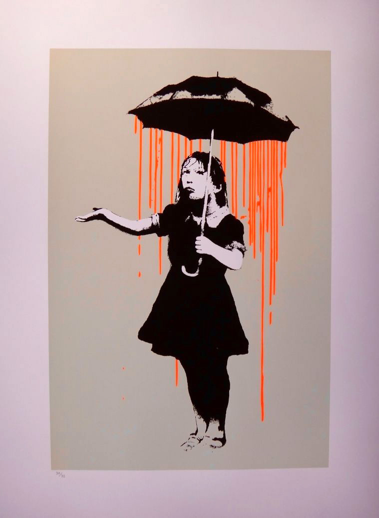 Banksy - screenprint serigraph Nola - original orange colorway after urbanart
