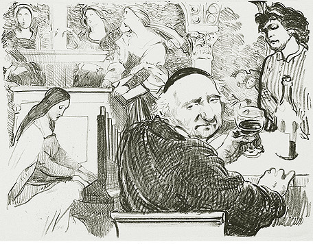 Bei Schadow zu Hause Kathedrale des Künstlers Lithografie Johannes Grützke Holzschnitt Radierung Schabradierung Offsetdruckt Druckgrafik Kaltnadelradierung