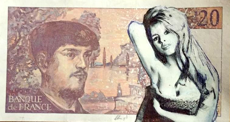Brigitte Bardot Original mixed media on real french bank note - Chris Boyle
