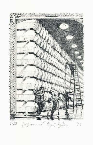 Der Frauentunnel 17 Lithografie Johannes Grützke Holzschnitt Radierung Schabradierung Offsetdruckt Druckgrafik Kaltnadelradierung