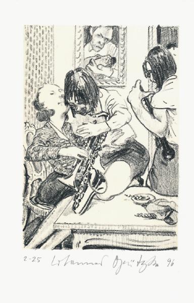 HUNDEFÜHRERINNENTRIO 2 Lithografie Johannes Grützke Holzschnitt Radierung Schabradierung Offsetdruckt Druckgrafik Kaltnadelradierung