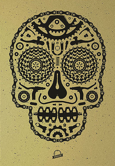 Douze Bike scull gold urban art gallery buy street art screenprint poster art of rock