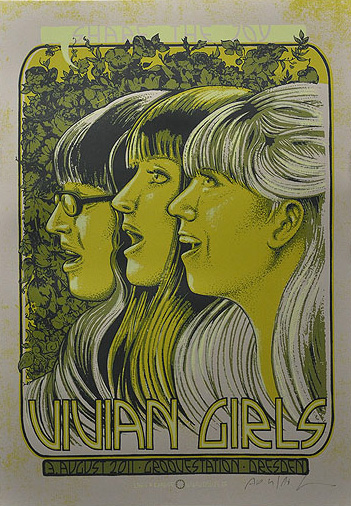 Douze Vivian Girls  urban art gallery buy street art screenprint poster art of rock