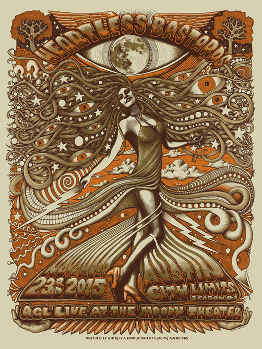 Mishka Westell Heartless Bastards silkscreen Siebdruck Poster art of rock psychodelic art