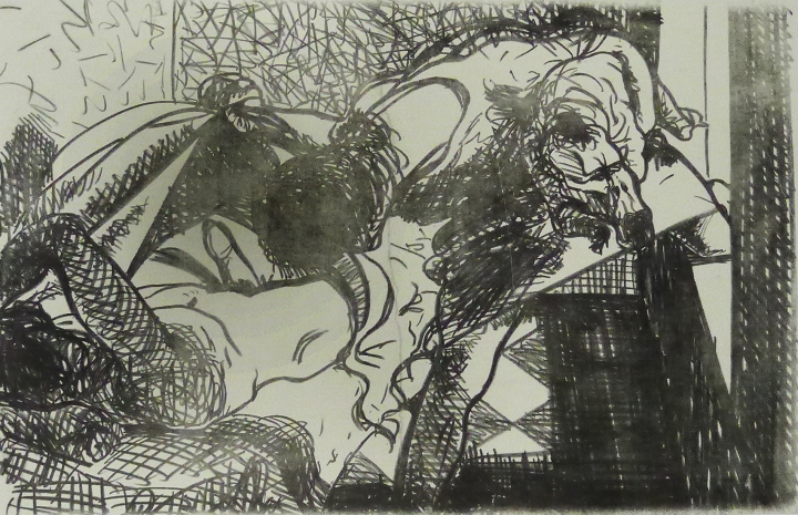 Hedwig 3 Kathedrale des Künstlers Lithografie Johannes Grützke Holzschnitt Radierung Schabradierung Offsetdruckt Druckgrafik Kaltnadelradierung