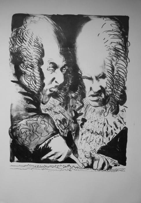 Kaiser Leopold Lithografie Johannes Grützke Holzschnitt Radierung Schabradierung Offsetdruckt Druckgrafik Kaltnadelradierung