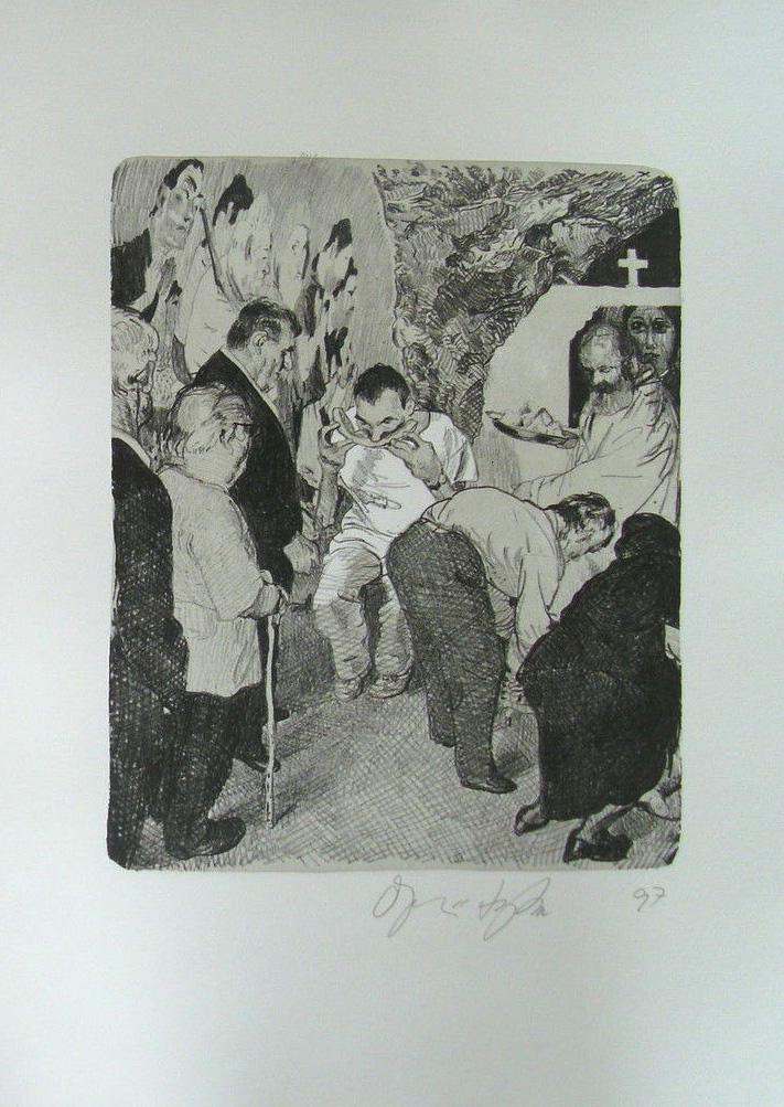 Kathedrale des Künstlers 3 Lithografie Johannes Grützke Holzschnitt Radierung Schabradierung Offsetdruckt Druckgrafik Kaltnadelradierung
