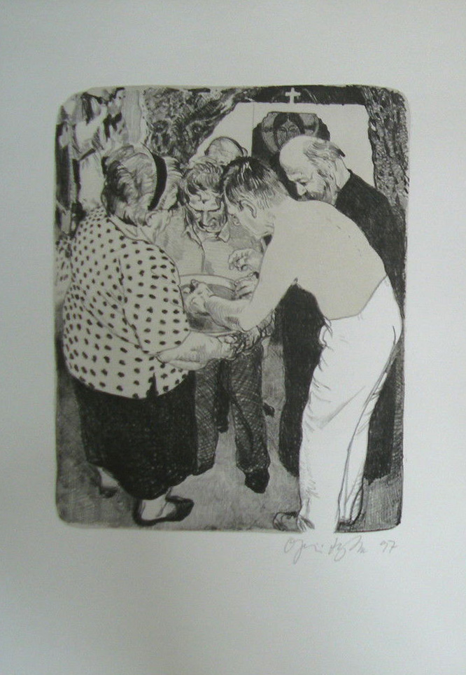 Kathedrale des Künstlers 6 Lithografie Johannes Grützke Holzschnitt Radierung Schabradierung Offsetdruckt Druckgrafik Kaltnadelradierung