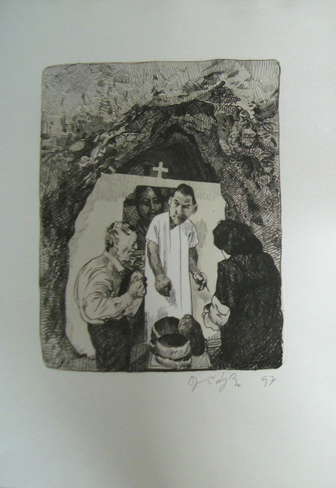 Kathedrale des Künstlers Lithografie Johannes Grützke Holzschnitt Radierung Schabradierung Offsetdruckt Druckgrafik Kaltnadelradierung