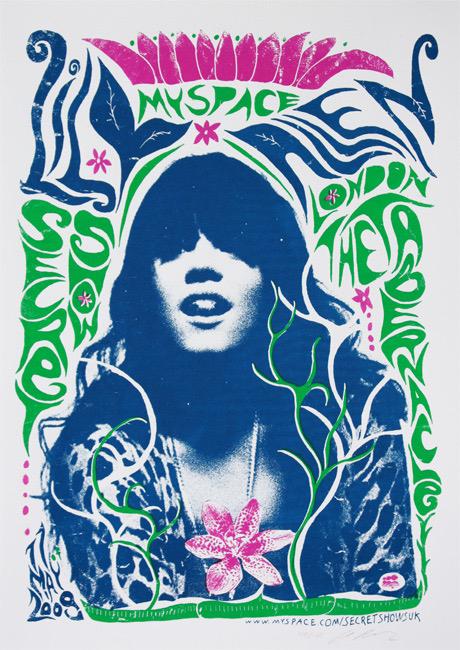 Lily Allen Myspace Secret Show Adam Pobiak, urban art gallery buy street art screenprint poster silkscreen siebdruck concertposter poster prints art prints rock art