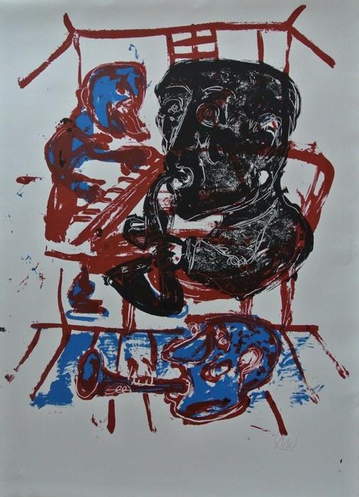 MARKUS LÜPERTZ Saxophonspieler 2007 Grafik Lithografie Litho Siebdruck screenprint Original Druckgrafik Druck Print Junge wilde