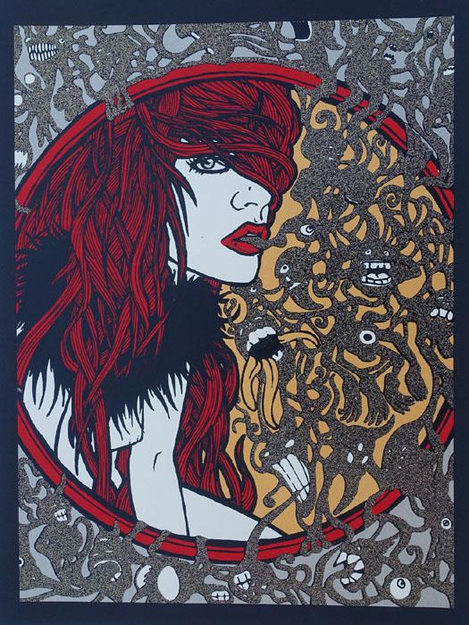 Malleus Incubus silkscreen siebdruck concertposter poster prints art prints rock art dark nouvou