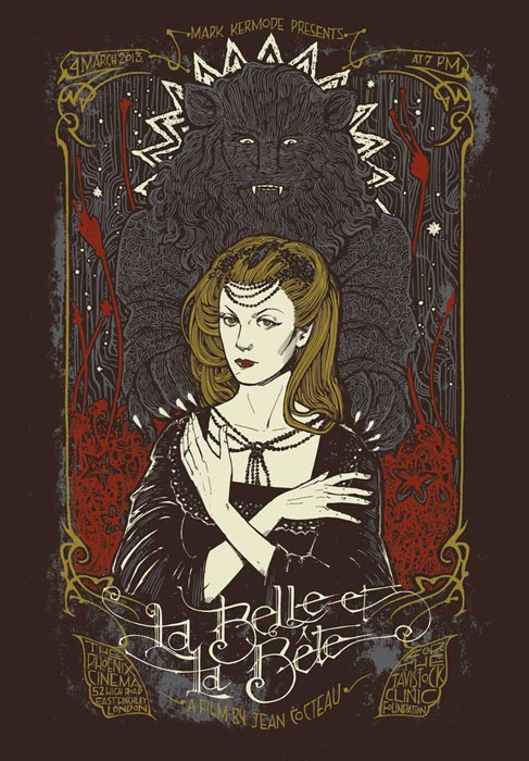 Malleus La Belle et la bete silkscreen siebdruck concertposter poster prints art prints rock art dark nouvou
