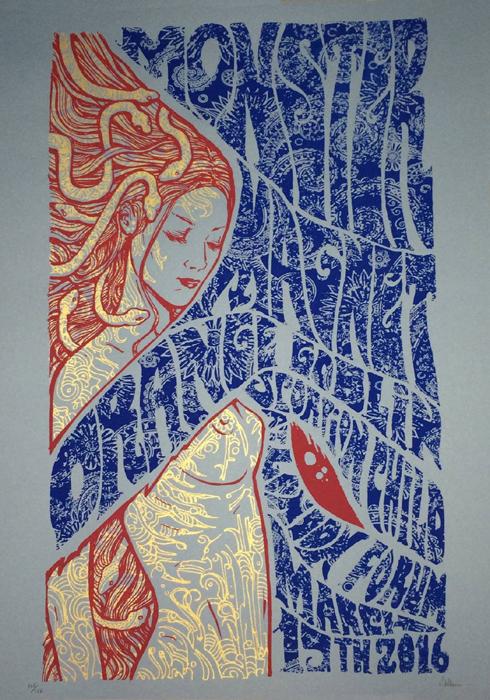 Malleus Monster Magnet London Poster-2016 silkscreen siebdruck concertposter poster prints art prints rock art dark nouvou