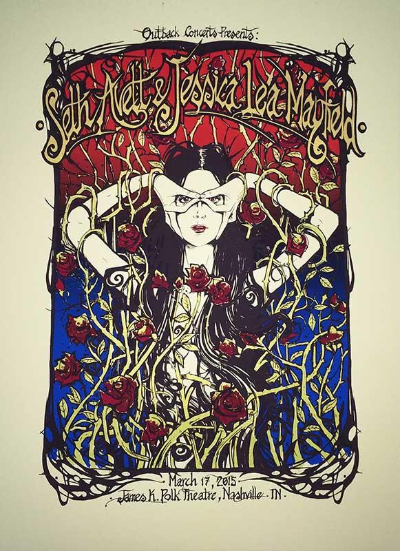 Malleus SETH AVETT & JESSICA LEA MAYFIELD silkscreen siebdruck concertposter poster prints art prints rock art dark nouvou