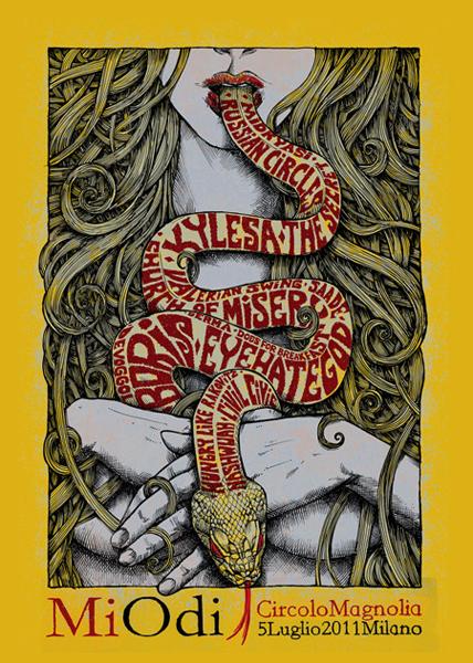 Malleus miodi 2011 silkscreen siebdruck concertposter poster prints art prints rock art dark nouvou