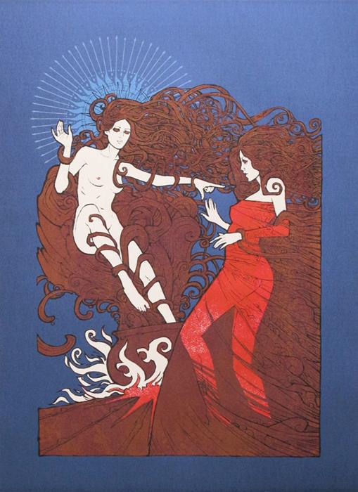 Malleus spirit silkscreen siebdruck concertposter poster prints art prints rock art dark nouvou
