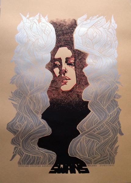 Malleus swans milano silkscreen siebdruck concertposter poster prints art prints rock art dark nouvou