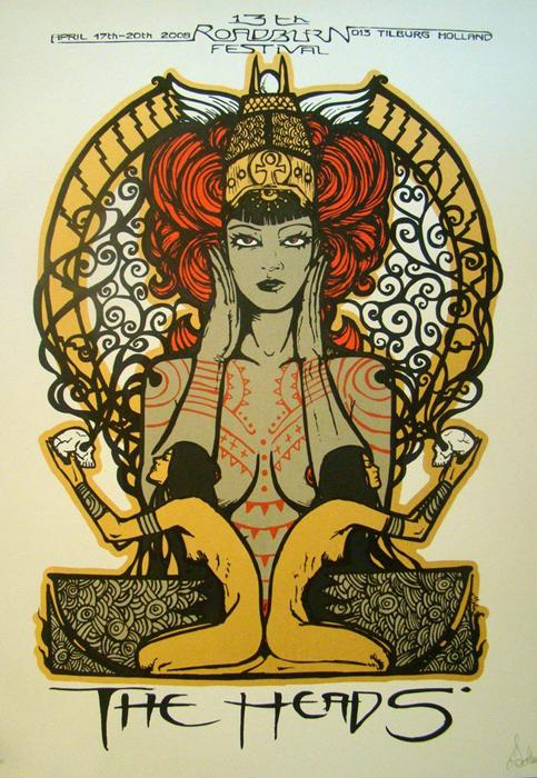 Malleus the heads silkscreen siebdruck concertposter poster prints art prints rock art dark nouvou