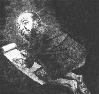 Marqus de Sade Lithografie Johannes Grützke Holzschnitt Radierung Schabradierung Offsetdruck  Andruck Neue Prächtigkeit Druckgrafik Kaltnadelradierung