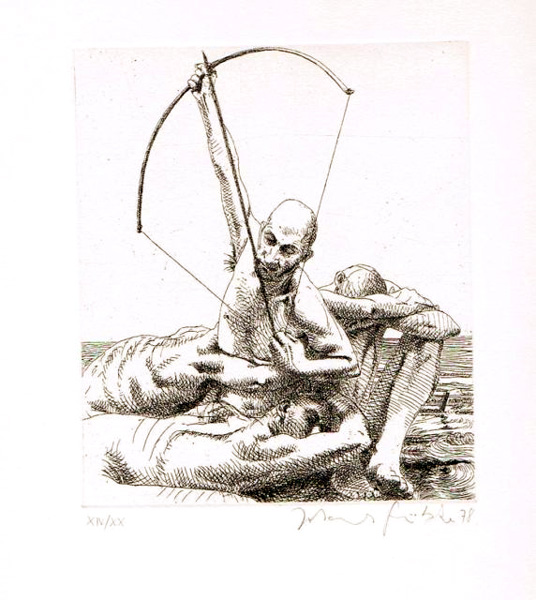 Pfeil der Sehnsucht Lithografie Johannes Grützke Holzschnitt Radierung Schabradierung Offsetdruckt Druckgrafik Kaltnadelradierung