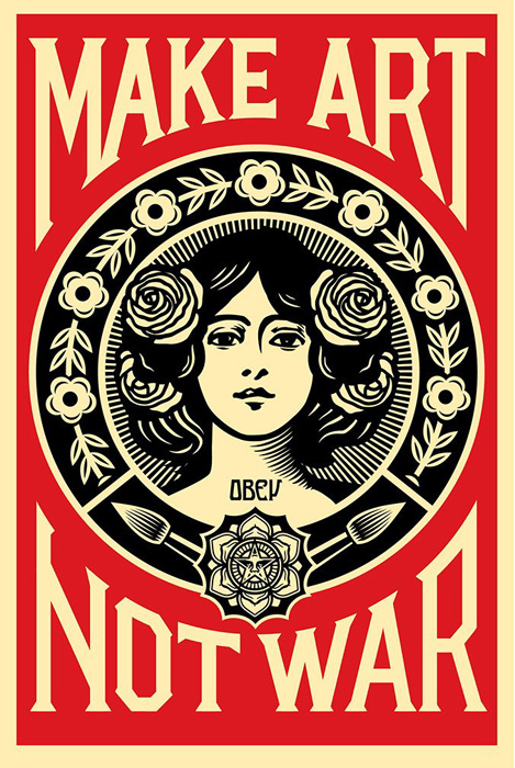Shepard Fairey Obey offset lithograph 2015 make art not war