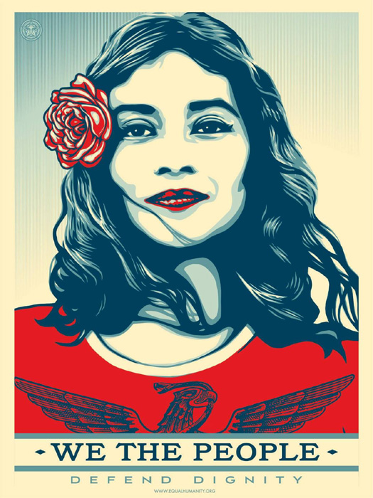 Shepard Fairey Obey offset lithograph 2017 defend dignity
