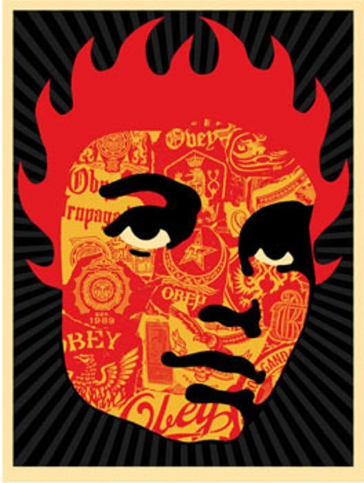 Shepard Fairey Obey silkscreen Siebdruck 2005 collage girl poster