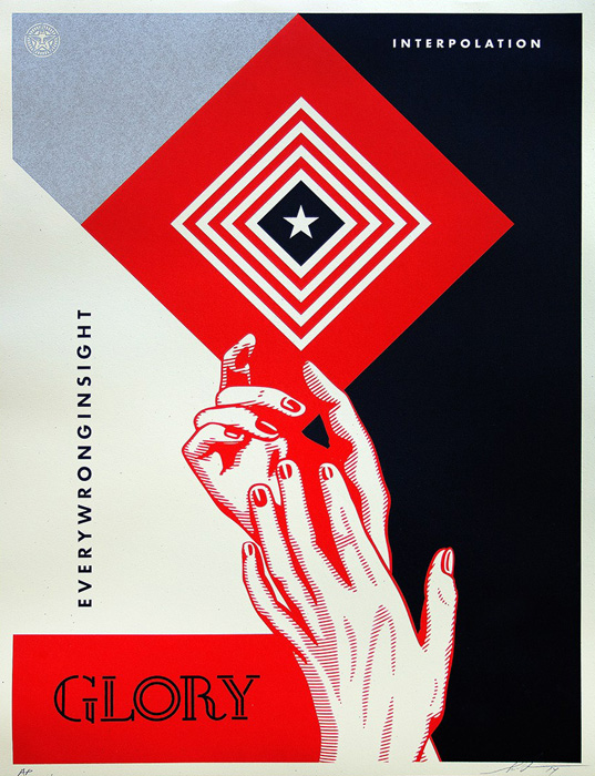 Shepard Fairey Obey silkscreen Siebdruck 2014 interpolation diptych poster
