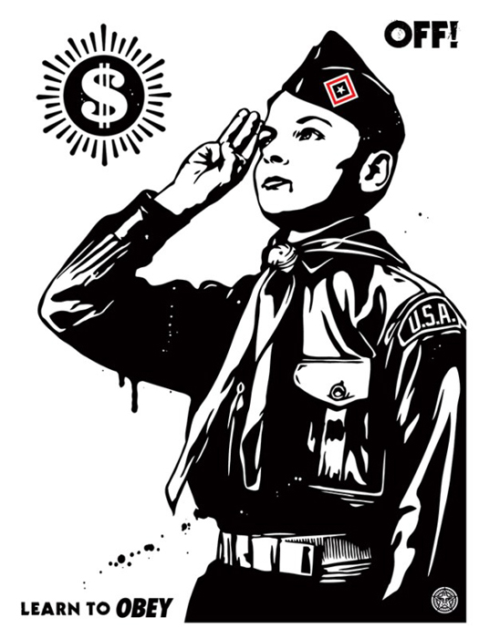 Shepard Fairey Obey silkscreen Siebdruck 2014 learn to obey poster