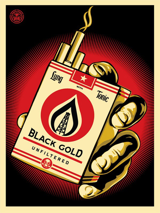 Shepard Fairey Obey silkscreen Siebdruck 2015 black gold poster