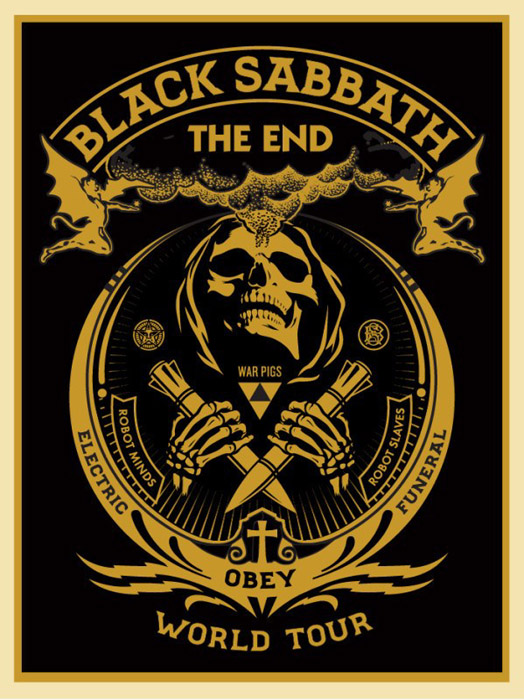 Shepard Fairey Obey silkscreen Siebdruck 2016 black sabbath gold poster
