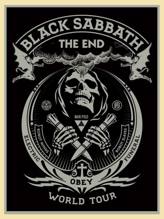 Shepard Fairey Obey silkscreen Siebdruck 2016 black sabbath silver