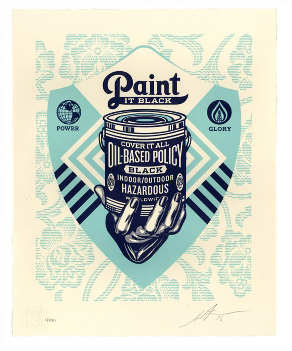 Shepard Fairey Obey silkscreen Siebdruck Letterpress 2016 Paint it black