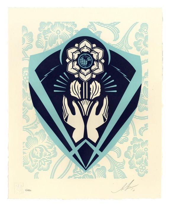 Shepard Fairey Obey silkscreen Siebdruck Letterpress 2016 Pespect and justice poster