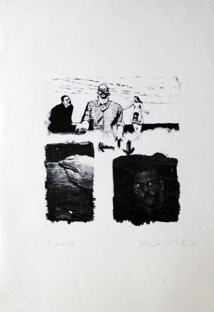 drei Szenen Lithografie Johannes Grützke Holzschnitt Radierung Schabradierung Offsetdruckt Druckgrafik Kaltnadelradierung