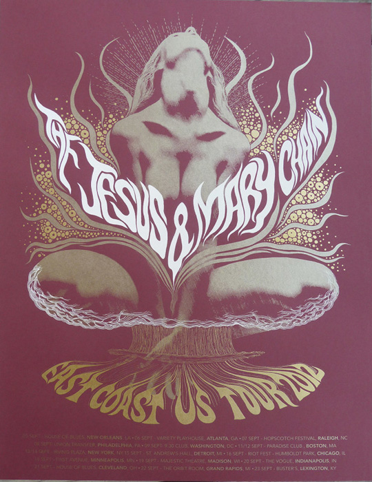 Mishka Westell jesus and the mary chain silkscreen Siebdruck Poster art of rock psychodelic art