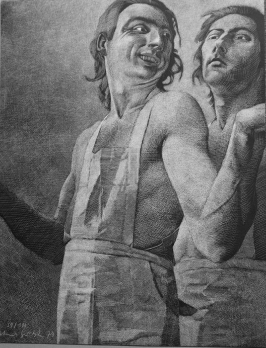 mit den Schürzen Lithografie Johannes Grützke Holzschnitt Radierung Schabradierung Offsetdruck  Druckgrafik