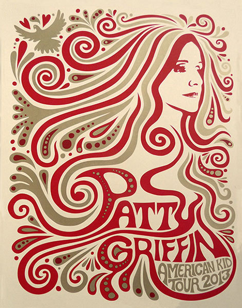 Mishka Westell patty griffin silkscreen Siebdruck Poster art of rock psychodelic art