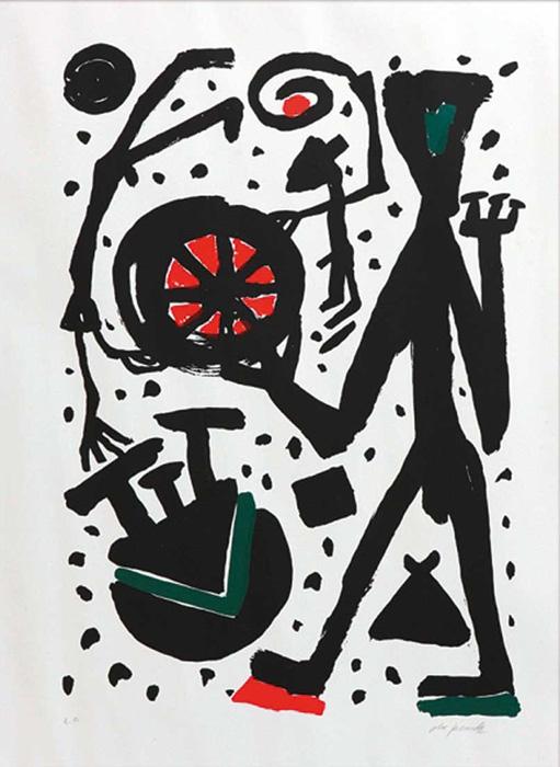 penk mann und weltrad A.R. Penck Ralf Winkler Siebdruck Serigrafie e.A. Neoexpressionismus