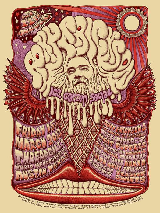 Mishka Westell roky erickson ice cream socia silkscreen Siebdruck Poster art of rock psychodelic art