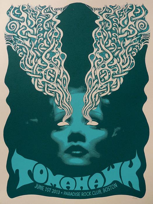Mishka Westell tomahawk silkscreen Siebdruck Poster art of rock psychodelic art