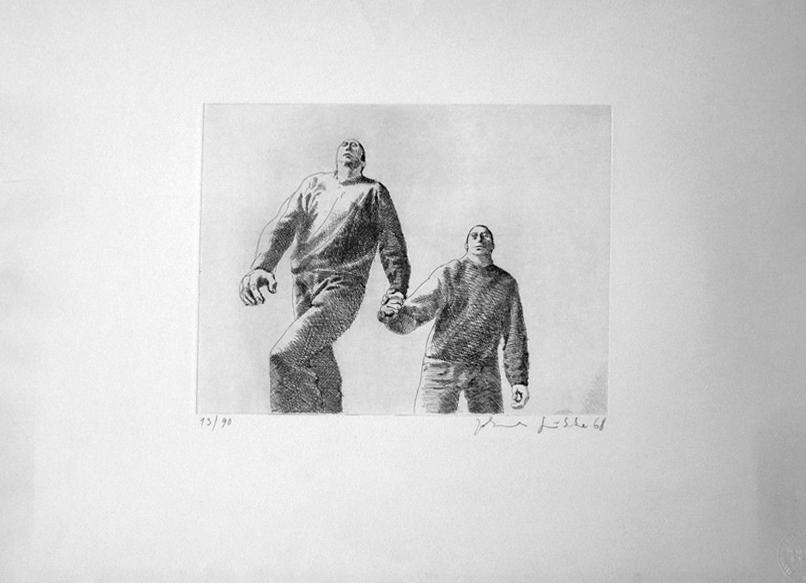 zwei freunde Kathedrale des Künstlers Lithografie Johannes Grützke Holzschnitt Radierung Schabradierung Offsetdruckt Druckgrafik Kaltnadelradierung